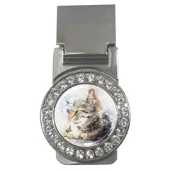Cat Animal Art Abstract Watercolor Money Clips (cz)
