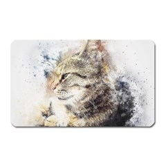 Cat Animal Art Abstract Watercolor Magnet (rectangular) by Celenk