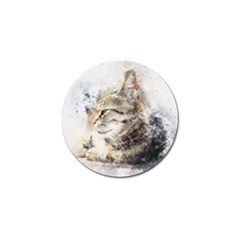 Cat Animal Art Abstract Watercolor Golf Ball Marker by Celenk