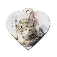Cat Animal Art Abstract Watercolor Dog Tag Heart (one Side)