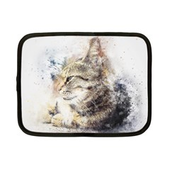 Cat Animal Art Abstract Watercolor Netbook Case (small)  by Celenk