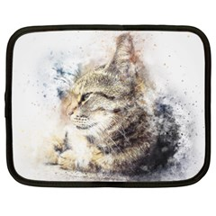 Cat Animal Art Abstract Watercolor Netbook Case (xxl)  by Celenk