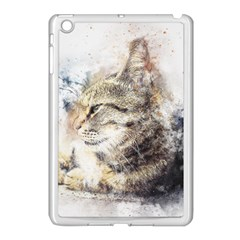 Cat Animal Art Abstract Watercolor Apple Ipad Mini Case (white)