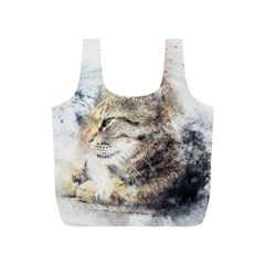 Cat Animal Art Abstract Watercolor Full Print Recycle Bags (s)