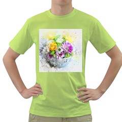 Flowers Vase Art Abstract Nature Green T Shirt