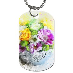Flowers Vase Art Abstract Nature Dog Tag (one Side) by Celenk