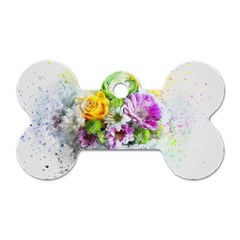 Flowers Vase Art Abstract Nature Dog Tag Bone (one Side) by Celenk