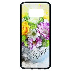 Flowers Vase Art Abstract Nature Samsung Galaxy S8 Black Seamless Case by Celenk