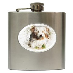 Dog Animal Pet Art Abstract Hip Flask (6 Oz) by Celenk