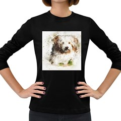 Dog Animal Pet Art Abstract Women s Long Sleeve Dark T Shirts