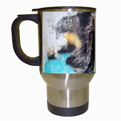 Dog Animal Art Abstract Watercolor Travel Mugs (white) by Celenk