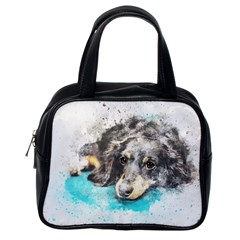Dog Animal Art Abstract Watercolor Classic Handbags (one Side)