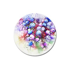 Berries Pink Blue Art Abstract Magnet 3  (round) by Celenk