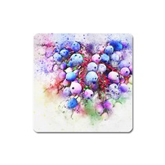 Berries Pink Blue Art Abstract Square Magnet by Celenk