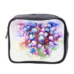 Berries Pink Blue Art Abstract Mini Toiletries Bag 2 Side by Celenk