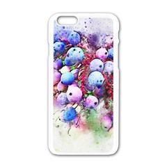 Berries Pink Blue Art Abstract Apple Iphone 6/6s White Enamel Case by Celenk