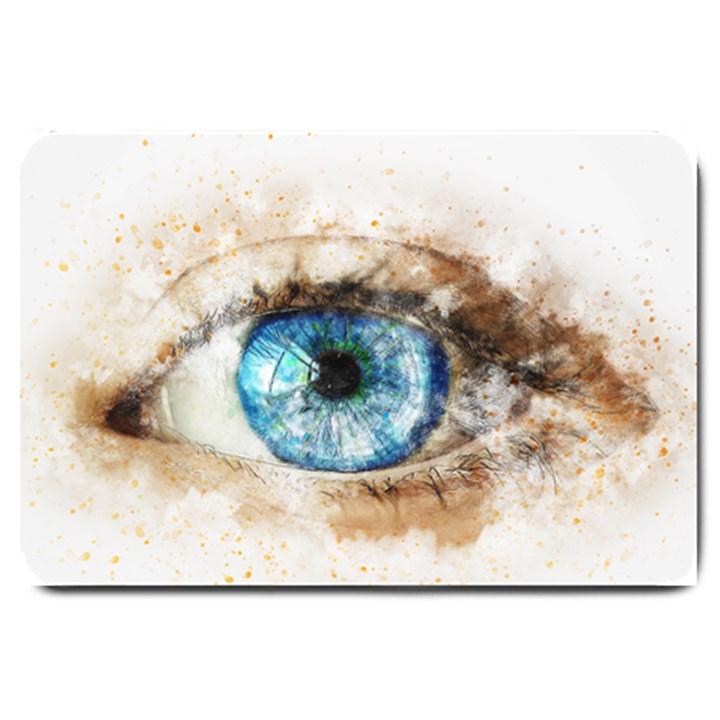 Eye Blue Girl Art Abstract Large Doormat