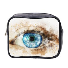 Eye Blue Girl Art Abstract Mini Toiletries Bag 2 Side