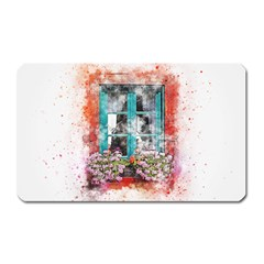 Window Flowers Nature Art Abstract Magnet (rectangular)