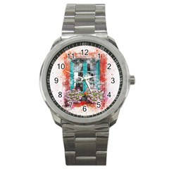 Window Flowers Nature Art Abstract Sport Metal Watch by Celenk