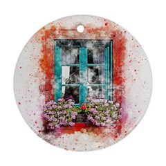 Window Flowers Nature Art Abstract Round Ornament (two Sides)