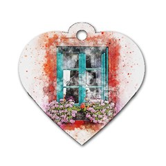 Window Flowers Nature Art Abstract Dog Tag Heart (one Side)