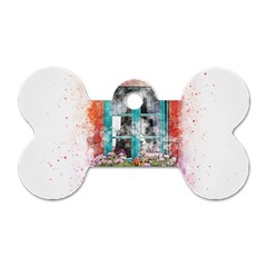 Window Flowers Nature Art Abstract Dog Tag Bone (two Sides)