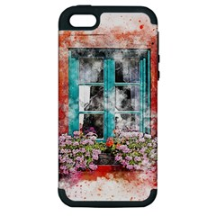 Window Flowers Nature Art Abstract Apple Iphone 5 Hardshell Case (pc+silicone) by Celenk