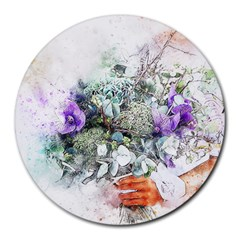 Flowers Bouquet Art Abstract Round Mousepads by Celenk
