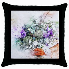 Flowers Bouquet Art Abstract Throw Pillow Case (black) by Celenk
