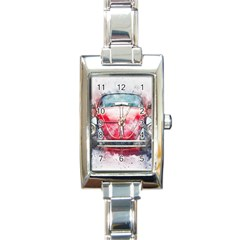 Red Car Old Car Art Abstract Rectangle Italian Charm Watch