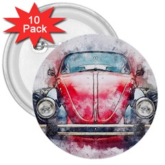 Red Car Old Car Art Abstract 3  Buttons (10 Pack)  by Celenk
