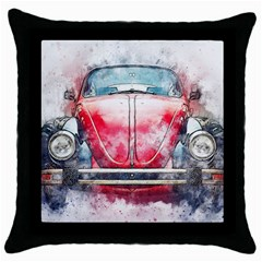 Red Car Old Car Art Abstract Throw Pillow Case (black) by Celenk