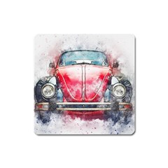 Red Car Old Car Art Abstract Square Magnet