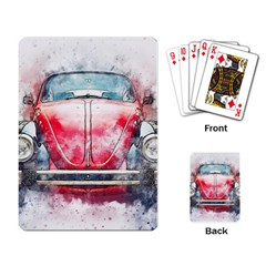 Red Car Old Car Art Abstract Playing Card by Celenk