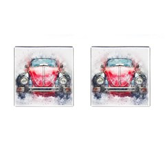 Red Car Old Car Art Abstract Cufflinks (square) by Celenk