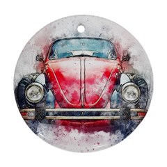 Red Car Old Car Art Abstract Round Ornament (two Sides) by Celenk