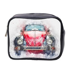 Red Car Old Car Art Abstract Mini Toiletries Bag 2 Side