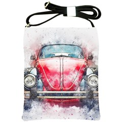 Red Car Old Car Art Abstract Shoulder Sling Bags