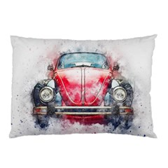 Red Car Old Car Art Abstract Pillow Case (two Sides)
