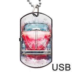 Red Car Old Car Art Abstract Dog Tag Usb Flash (two Sides) by Celenk