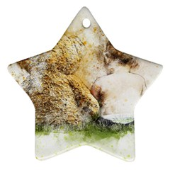 Bear Baby Sitting Art Abstract Star Ornament (two Sides) by Celenk