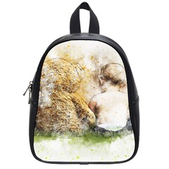 Bear Baby Sitting Art Abstract School Bag (small)