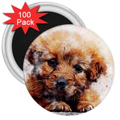 Dog Puppy Animal Art Abstract 3  Magnets (100 Pack)