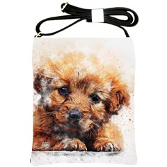 Dog Puppy Animal Art Abstract Shoulder Sling Bags by Celenk