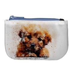 Dog Puppy Animal Art Abstract Large Coin Purse
