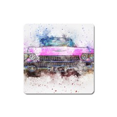 Pink Car Old Art Abstract Square Magnet by Celenk