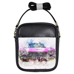 Pink Car Old Art Abstract Girls Sling Bags by Celenk