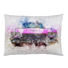 Pink Car Old Art Abstract Pillow Case (two Sides)