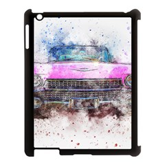 Pink Car Old Art Abstract Apple Ipad 3/4 Case (black) by Celenk